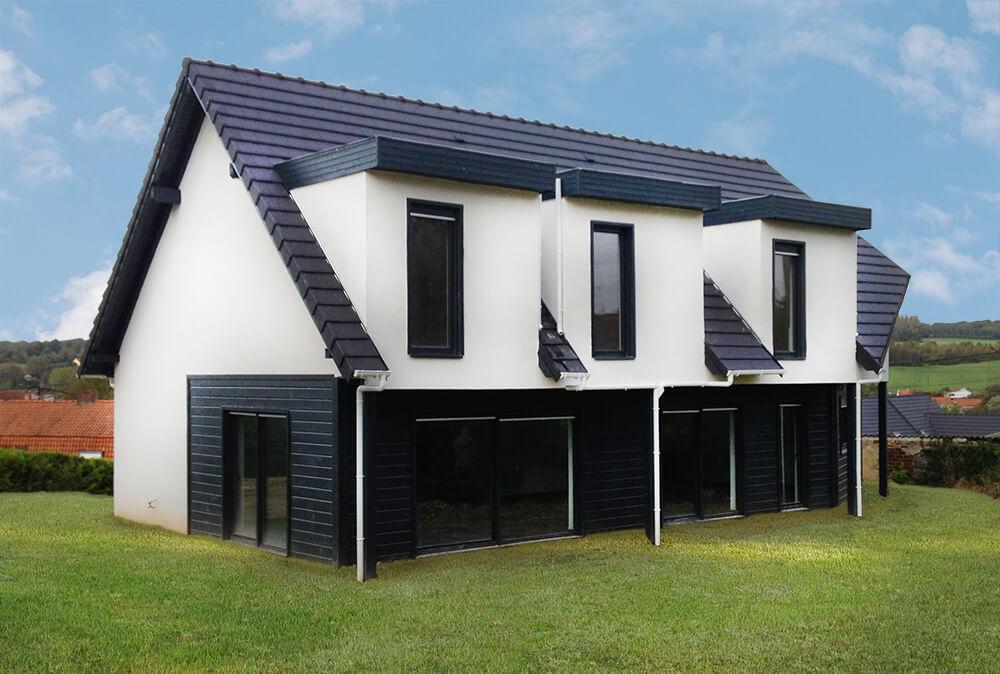 Maison ossature bois enduit et bardage devant