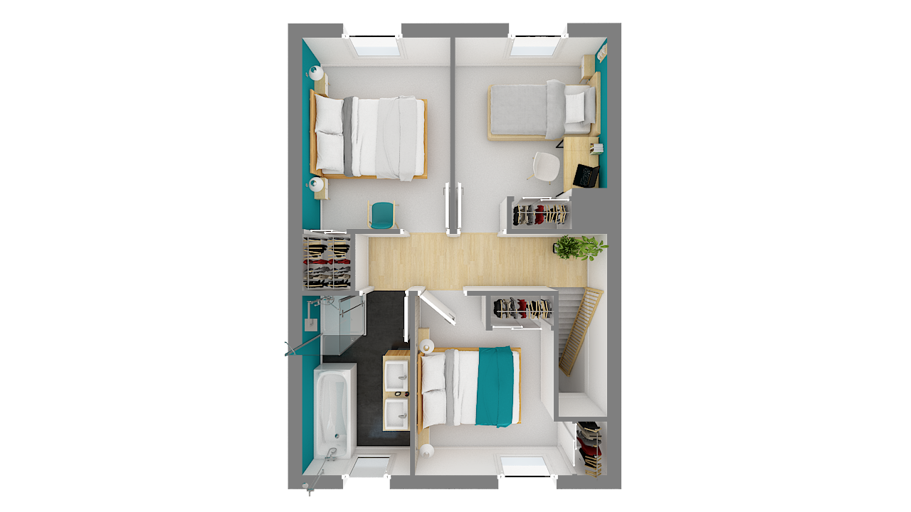 Plan étage maisons ossature bois Calais
