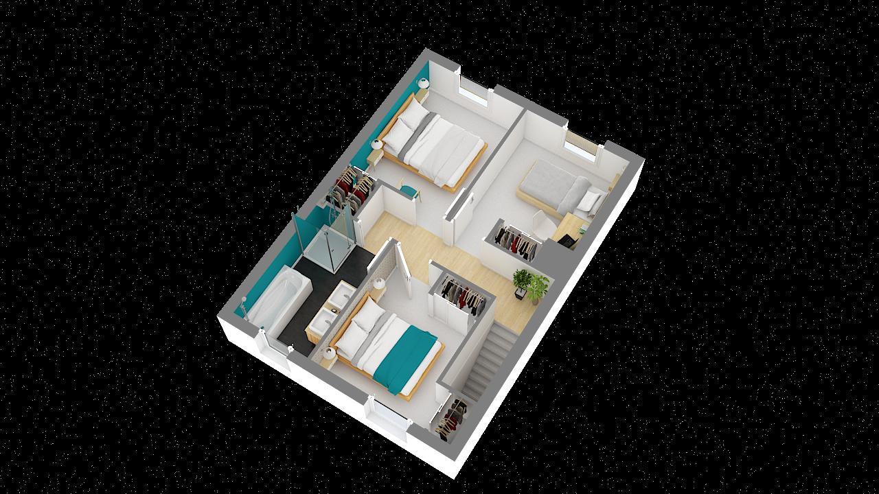 Vue 3d chambre maison ossature bois calais