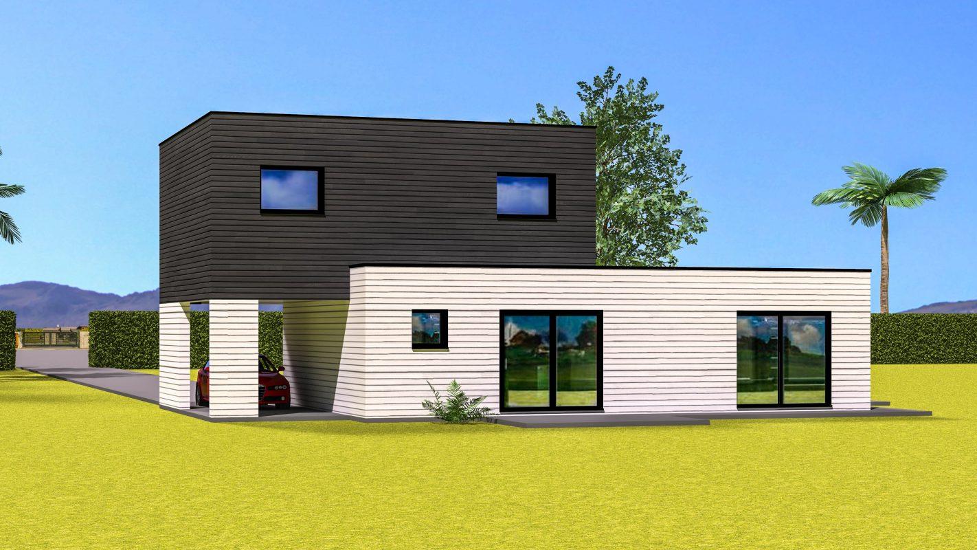 construction maison ossature bois moderne