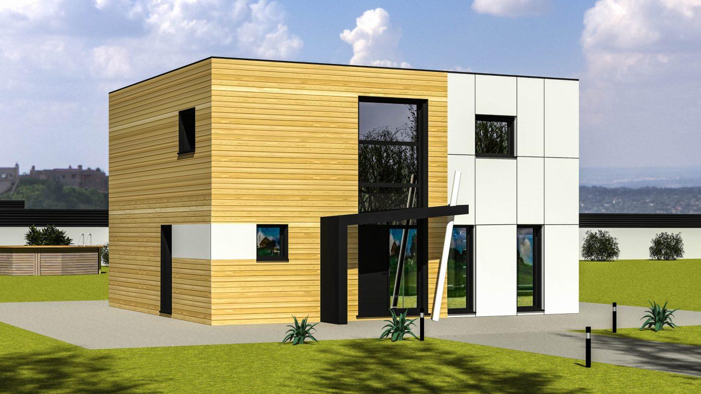 Maison ossature bois cubique moderne