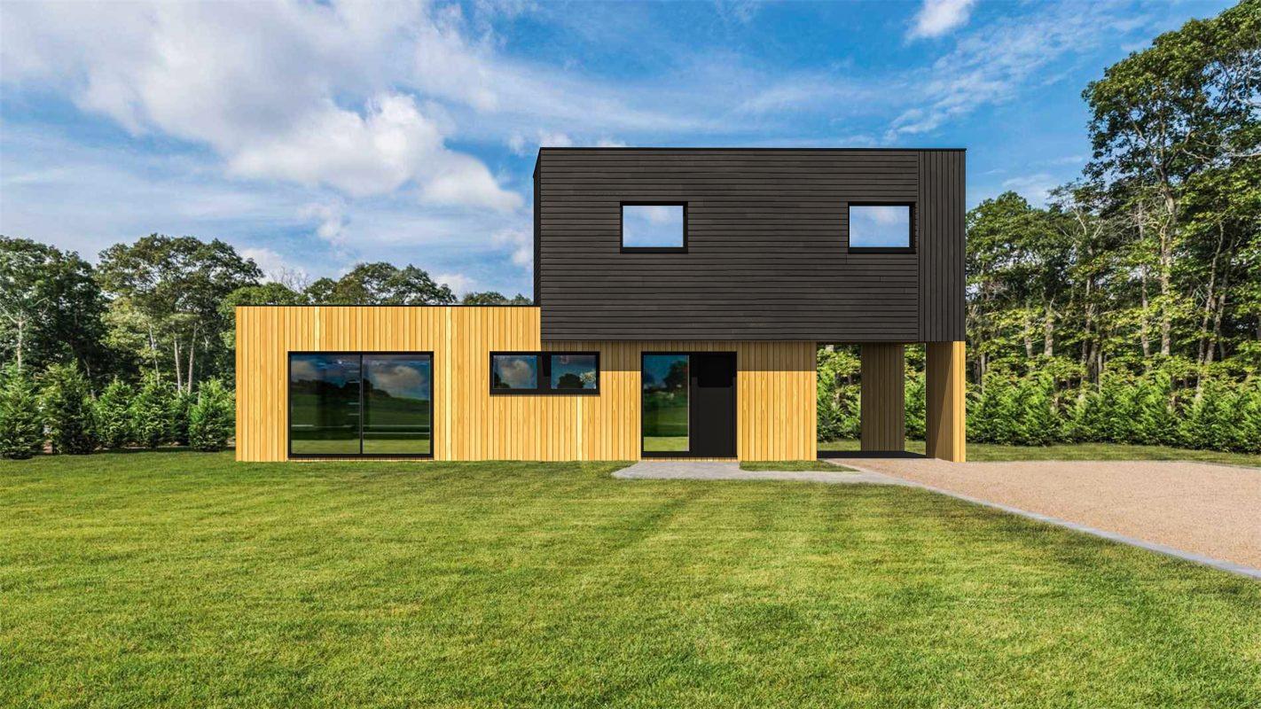 construction maison ossature bois moderne vue devant