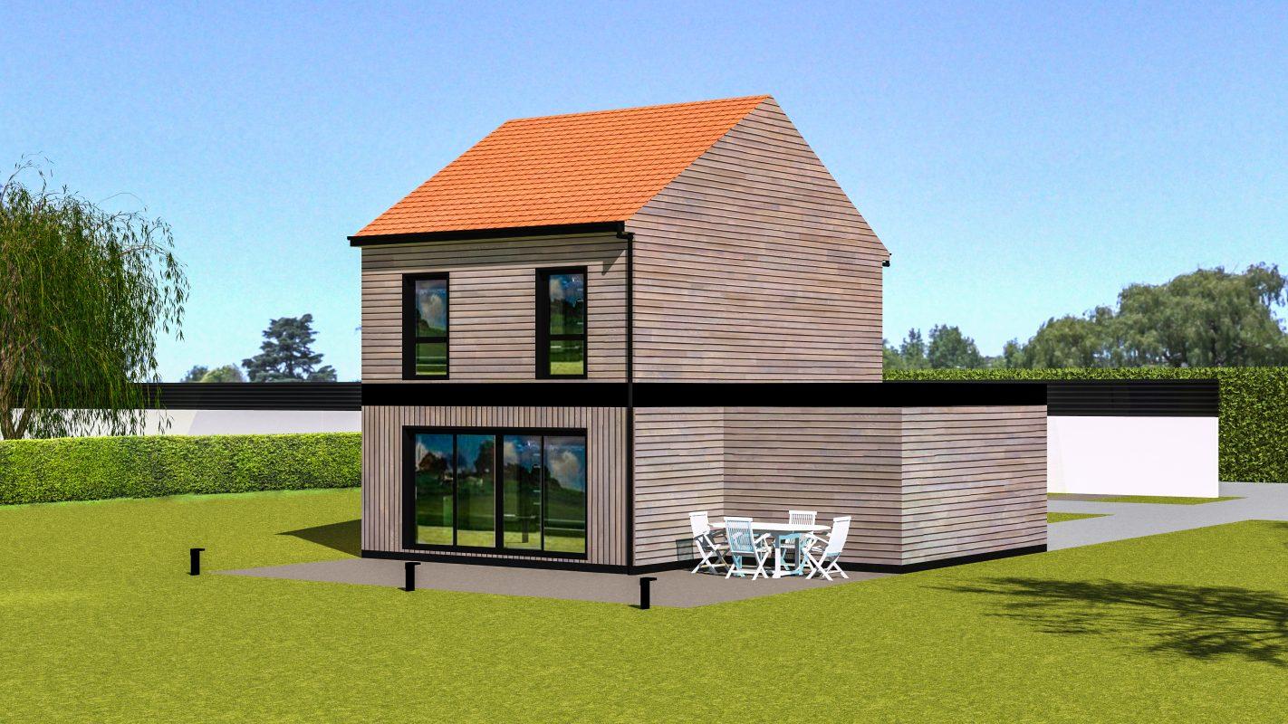 Maison ossature bois Copenhague vue arriere