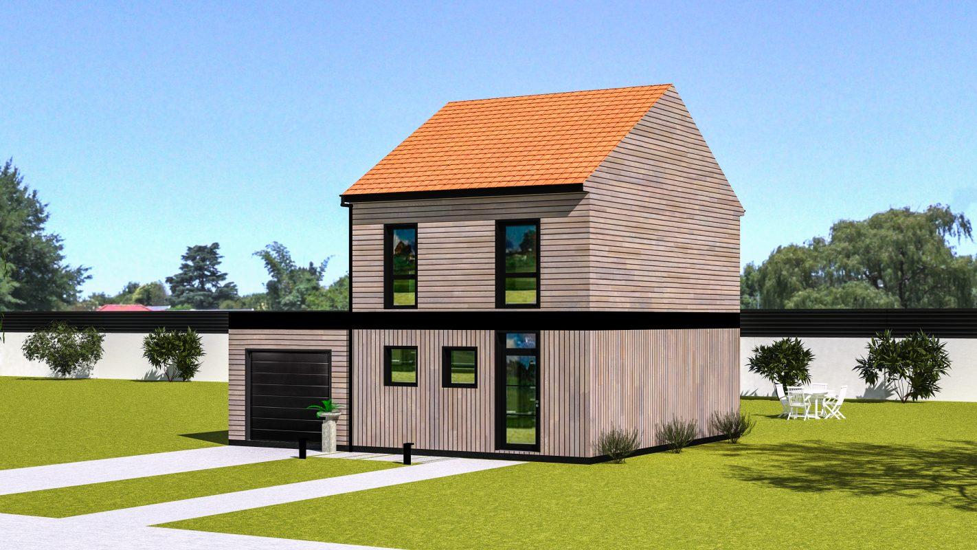 Maison ossature bois Copenhague vue devant