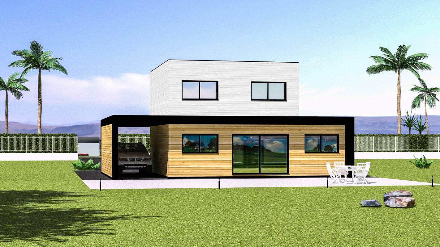 maison ossature bois moderne vue arriere bardage blanc