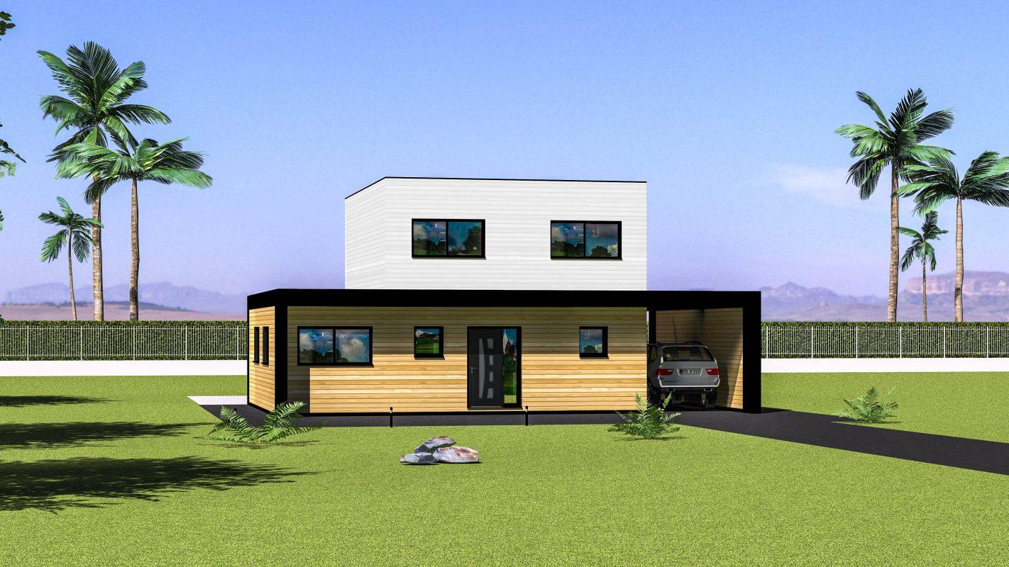 maison ossature bois vue devant bardage blanc
