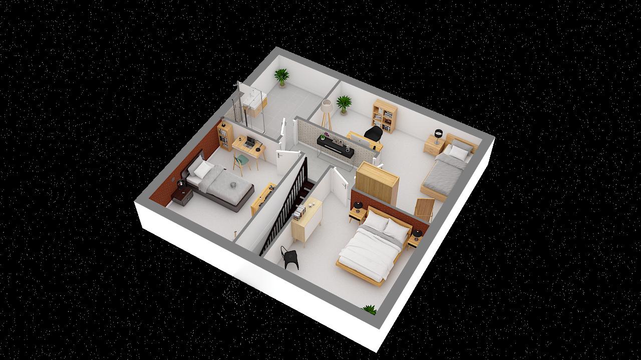 Maison ossature bois logicobois modèle Atlanta - etage vue iso