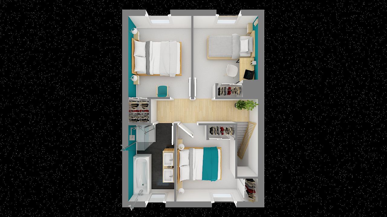 Maison ossature bois logicobois modèle Copenhague - etage - vue dessus