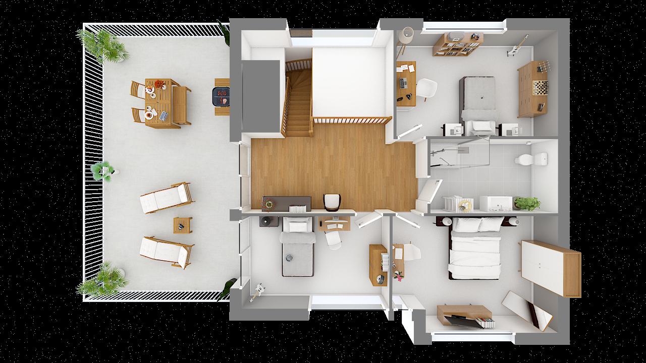 Maison ossature bois logicobois modèle Courchevel - etage - vue dessus