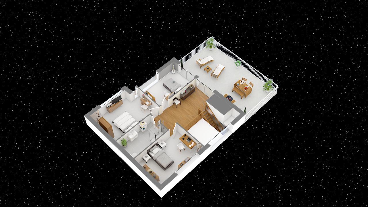 Maison ossature bois logicobois modèle Courchevel - etage - vue iso