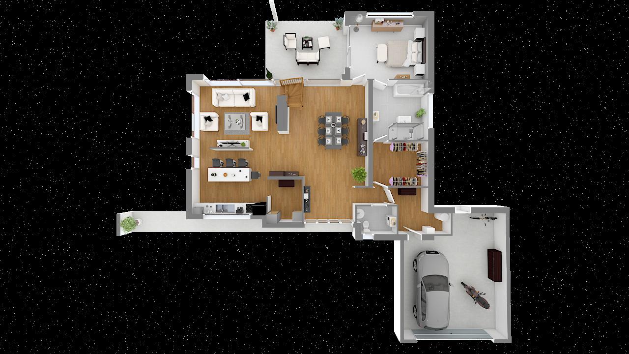 Maison ossature bois logicobois modèle Courchevel - rdc - vue dessus