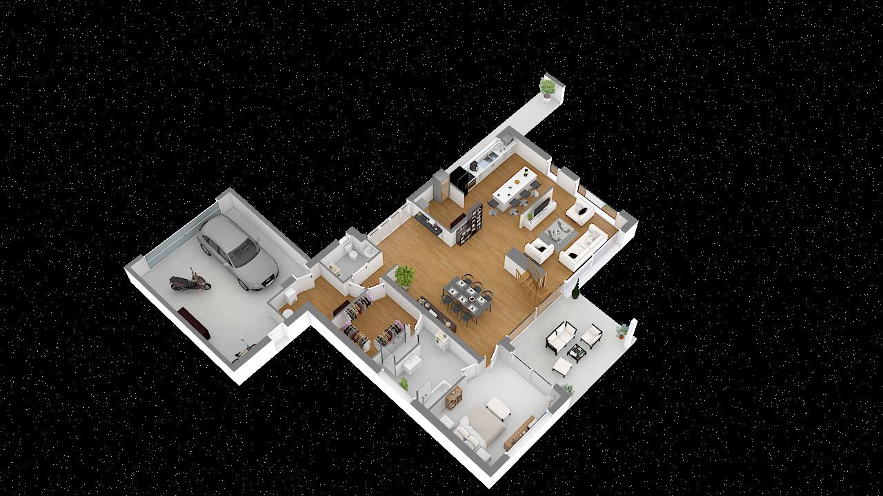 Maison ossature bois logicobois modèle Courchevel - rdc - vue iso