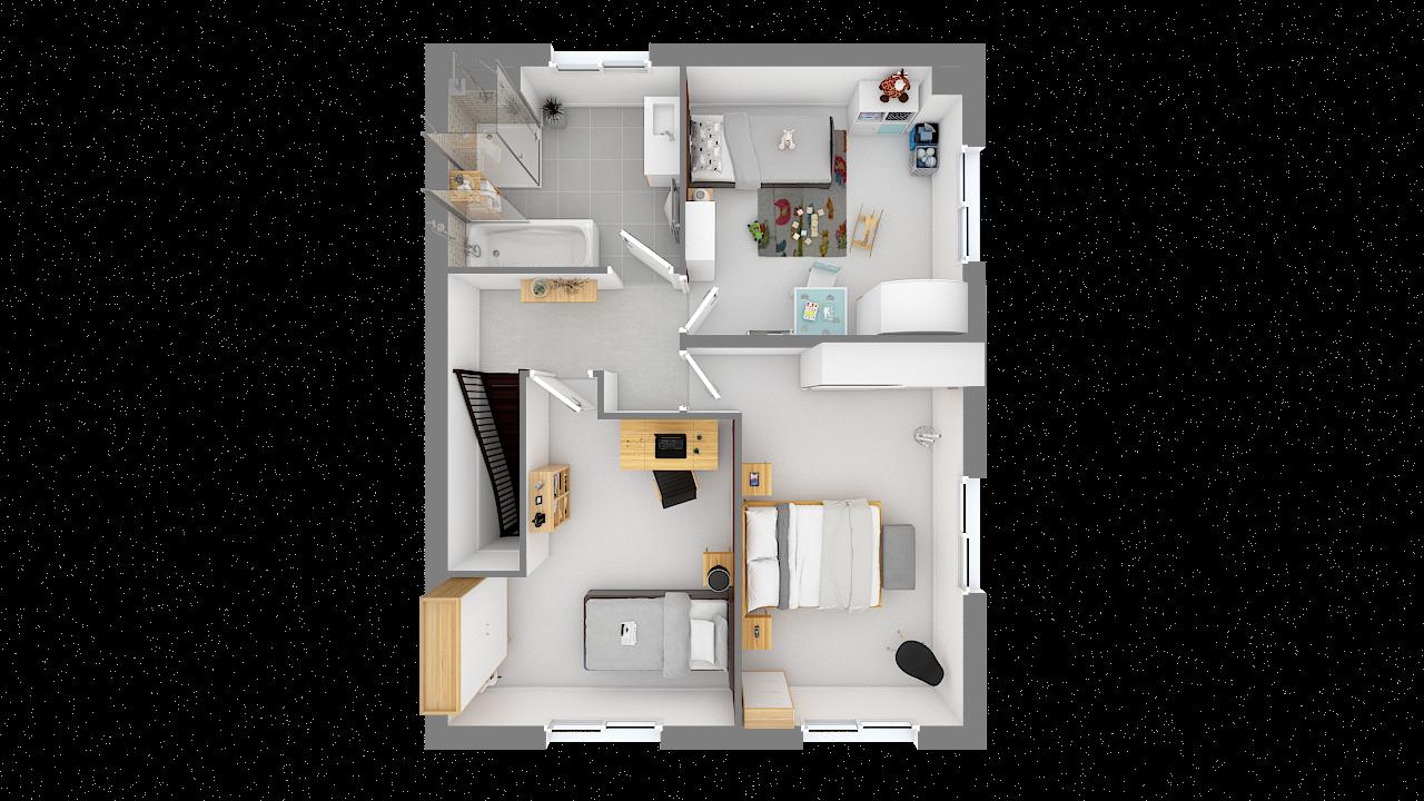 Maison ossature bois logicobois modèle Oran - etage - vue dessus