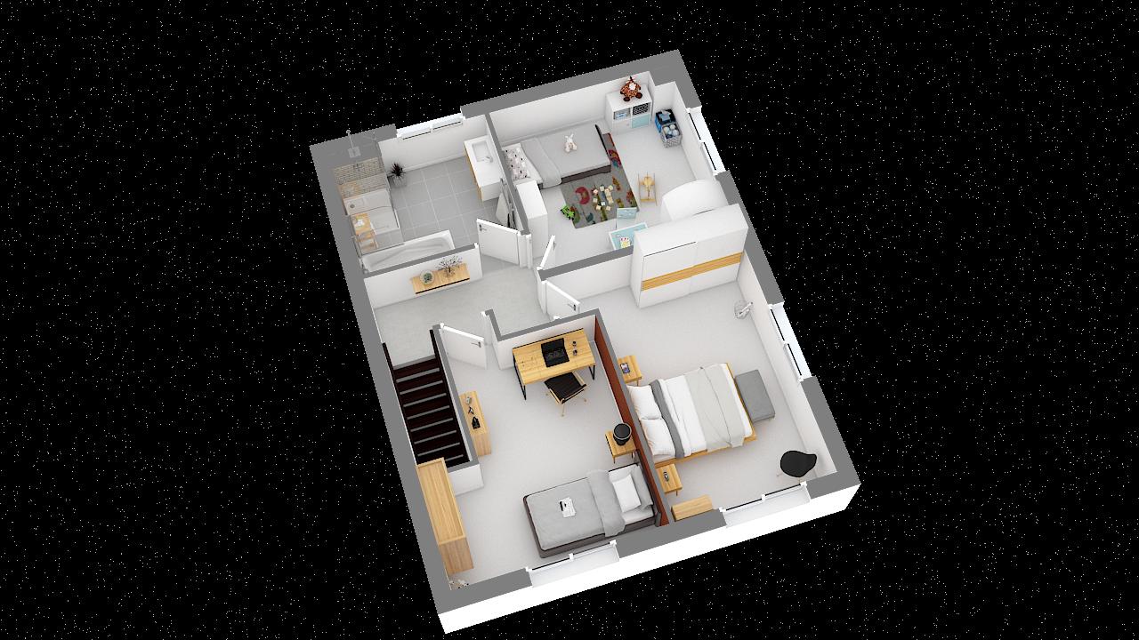 Maison ossature bois logicobois modèle Oran - etage - vue iso