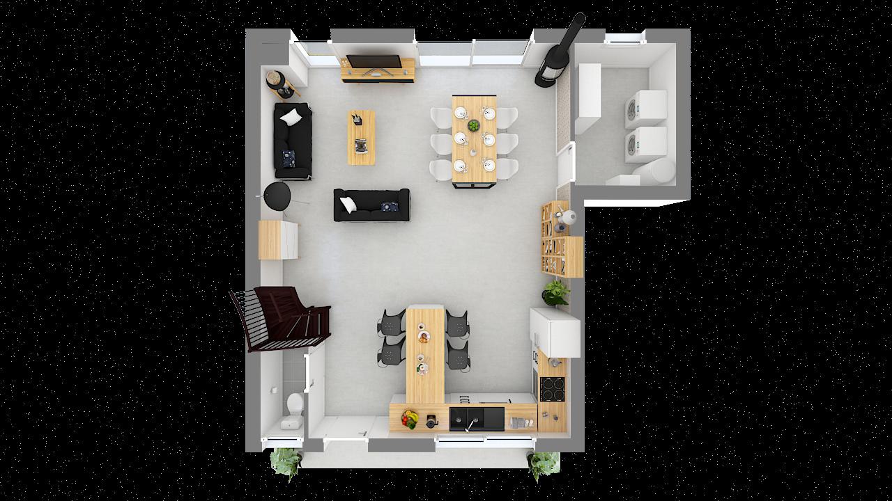 Maison ossature bois logicobois modèle Oran - rdc - vue dessus