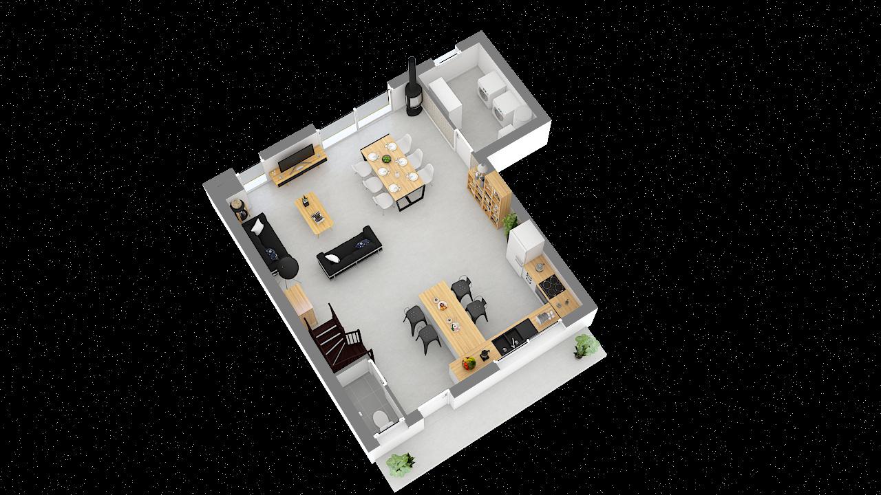 Maison ossature bois logicobois modèle Oran - rdc - vue iso