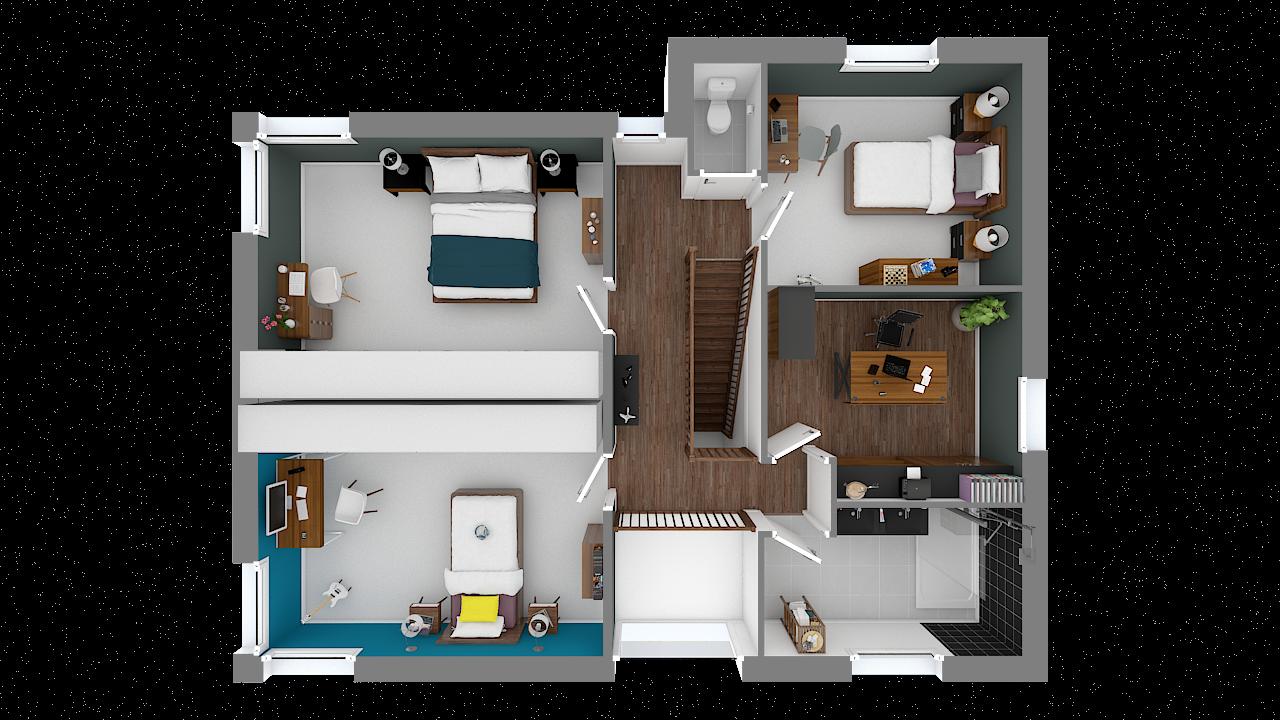 Maison ossature bois logicobois modele miami - etage - vue dessus