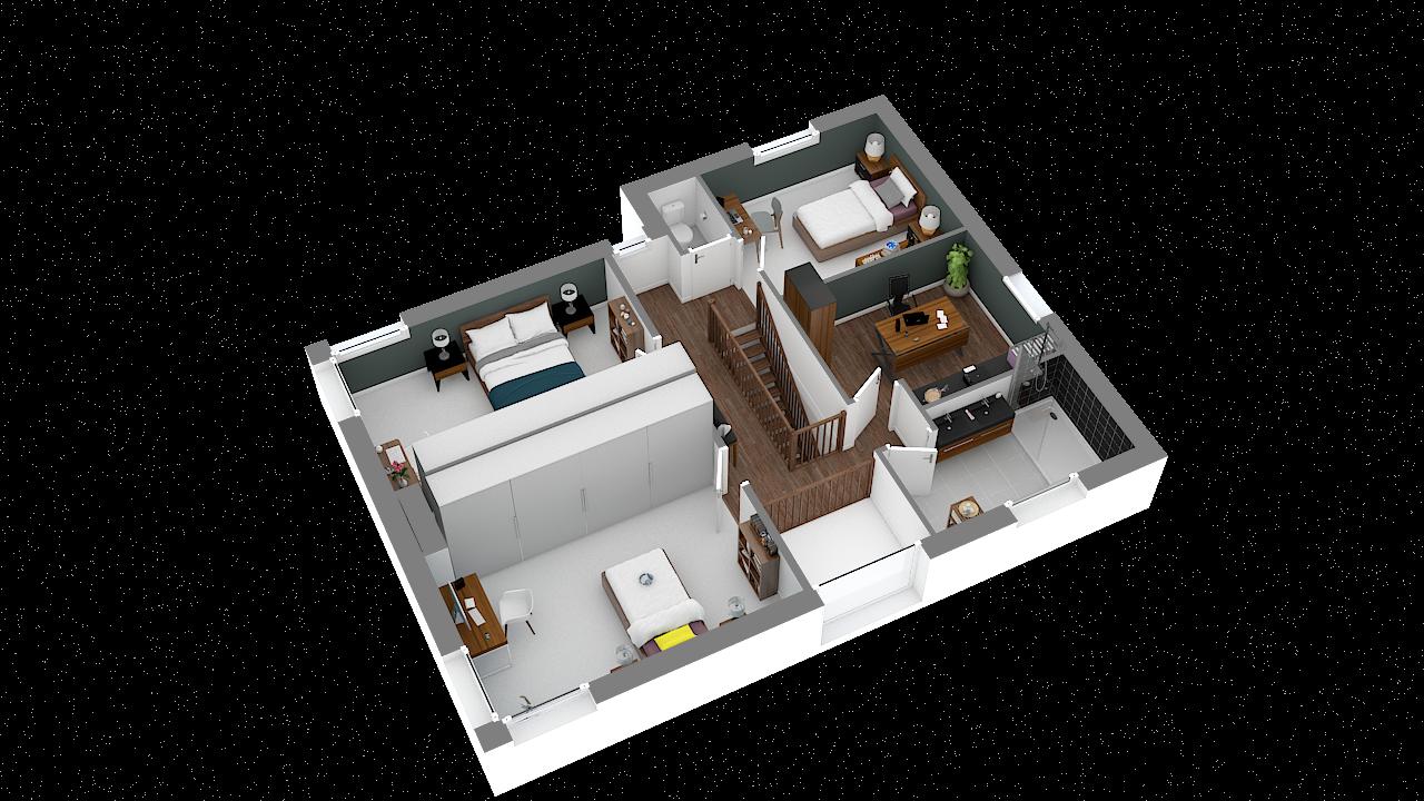 Maison ossature bois logicobois modele miami - etage - vue iso