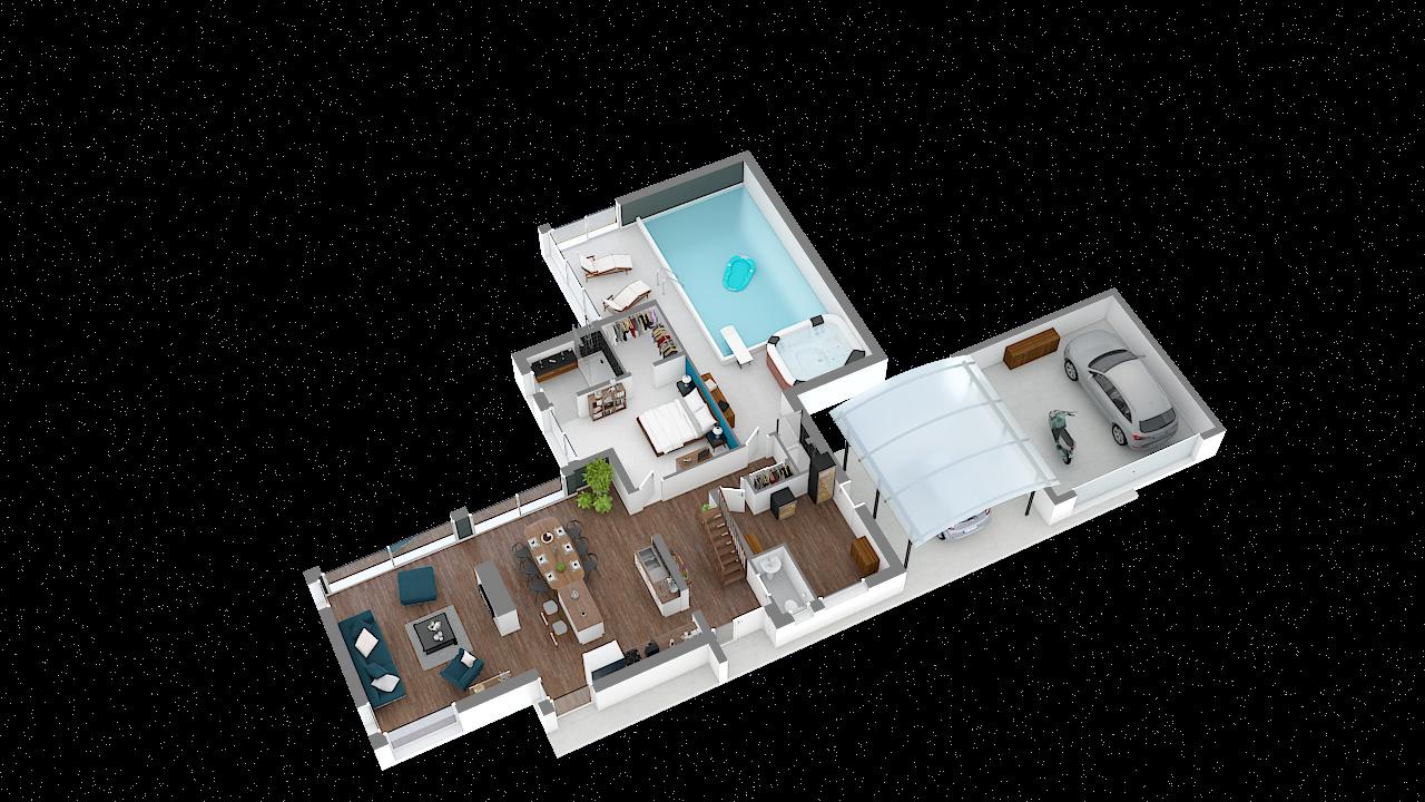 Maison ossature bois logicobois modele miami - rdc - vue iso