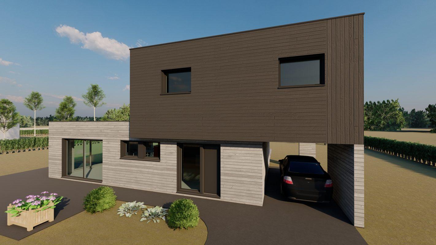 Maison ossature bois modele malaga bardage ral 7016 - logicobois