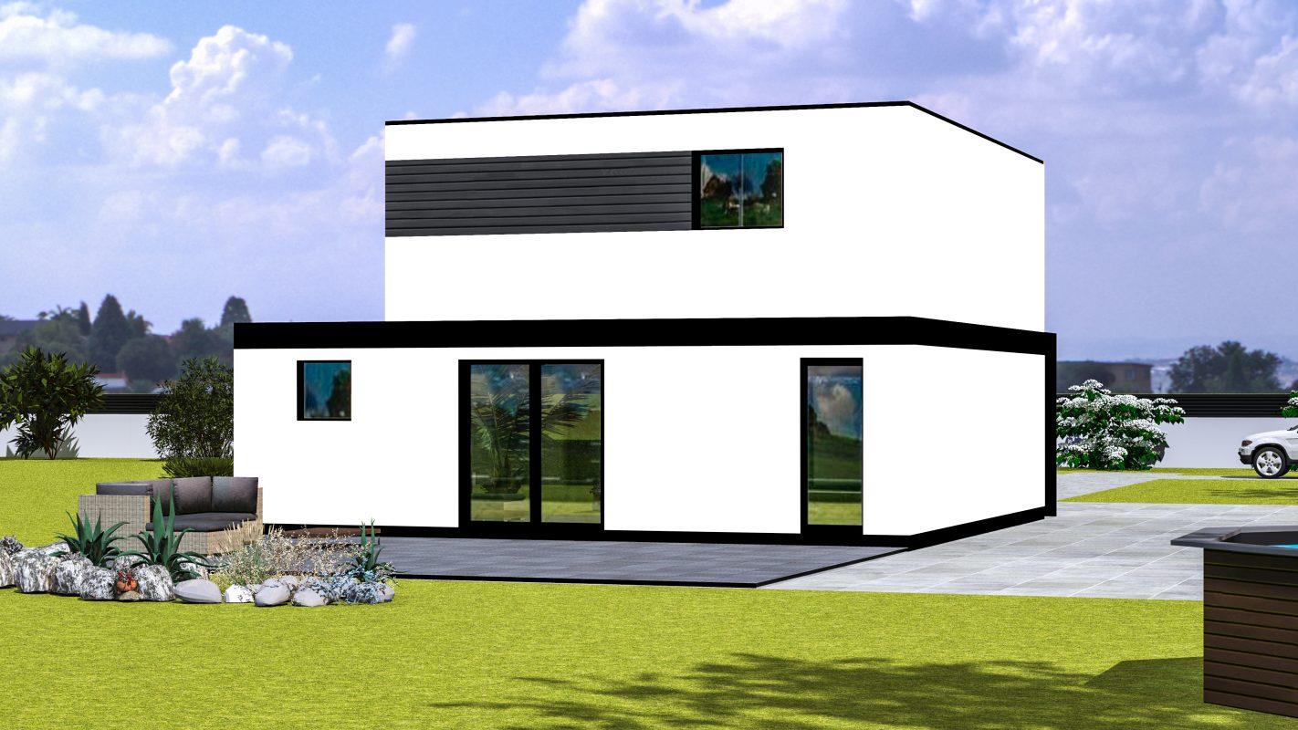 maison ossature bois modele oran vue arriere