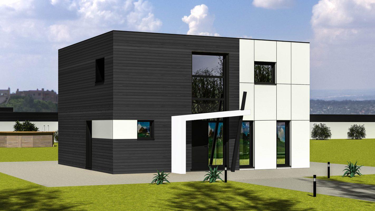 maison ossature bois TALLINN vue devant bardage anthracite
