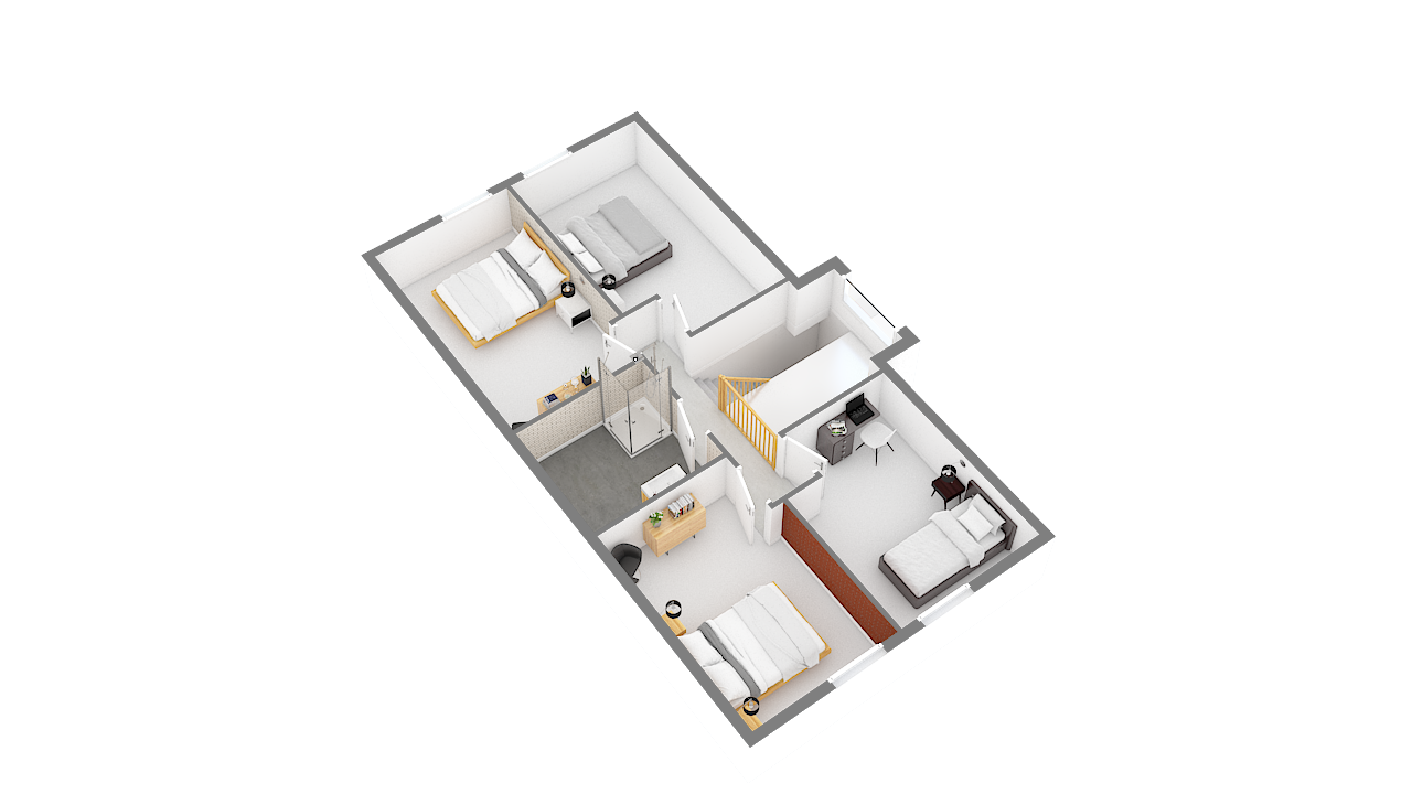 maison ossature bois logicobois modele Amsterdam - etage - vue cote