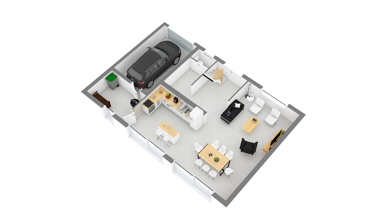 maison ossature bois logicobois modele Amsterdam - rdv - vue cote