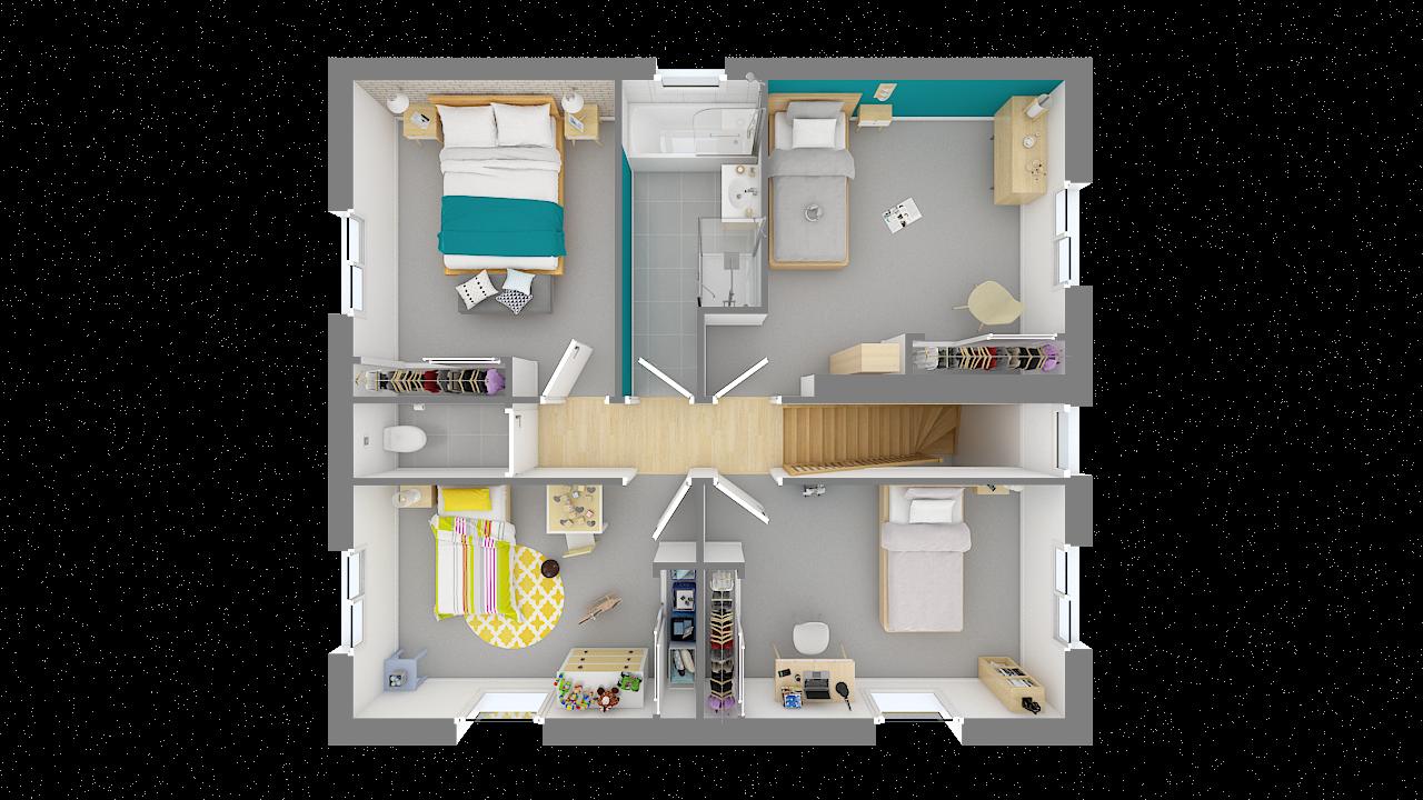maison ossature bois logicobois modele Athenes - etage - vue dessus