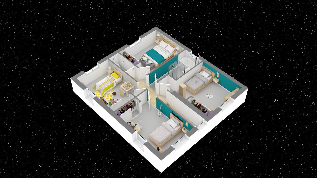maison ossature bois logicobois modele Athenes - etage - vue iso