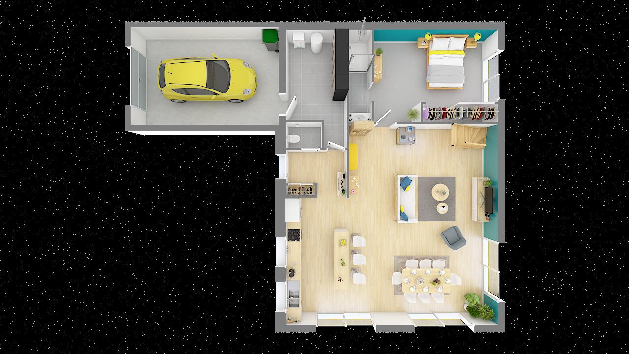 maison ossature bois logicobois modele Athenes - rdc - vue dessus
