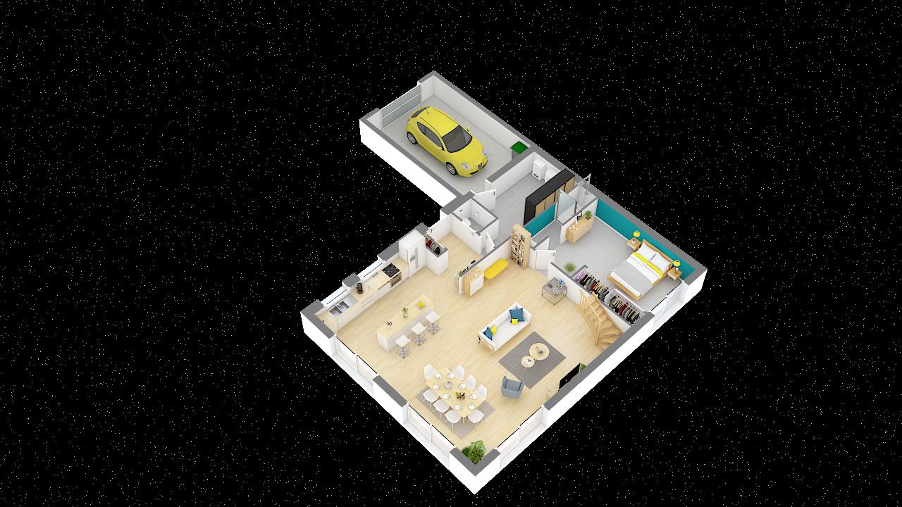 maison ossature bois logicobois modele Athenes - rdc vue iso