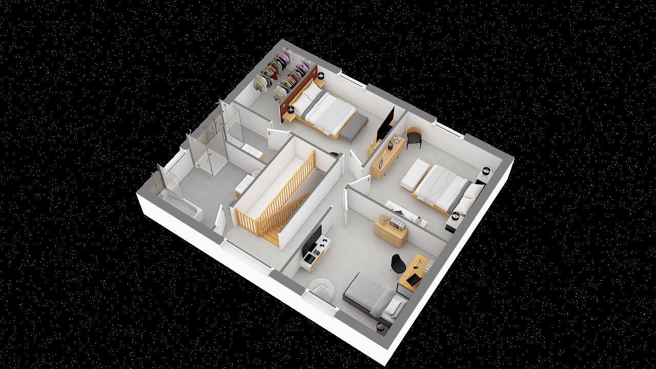 maison ossature bois logicobois modele Tallinn - etage - vue iso