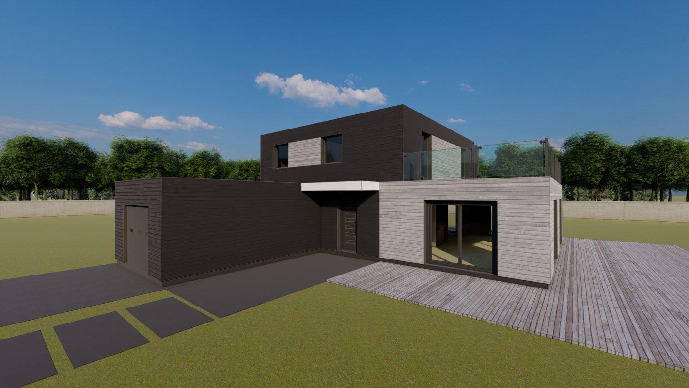 maison ossature bois logicobois modele athenes vue devant