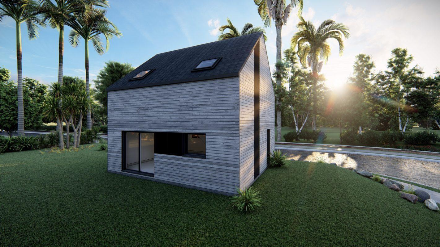 maison ossature bois logicobois modele atlanta vue arriere