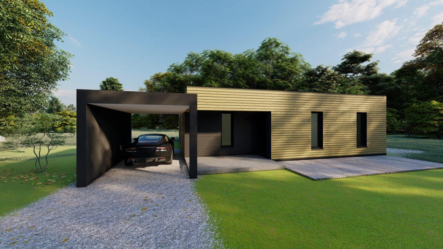 maison ossature bois logicobois modele barcelone vue devant