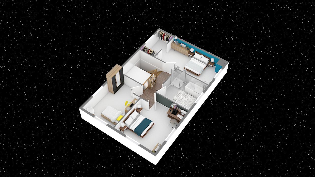 maison ossature bois logicobois modele brisbane - etage - vue iso