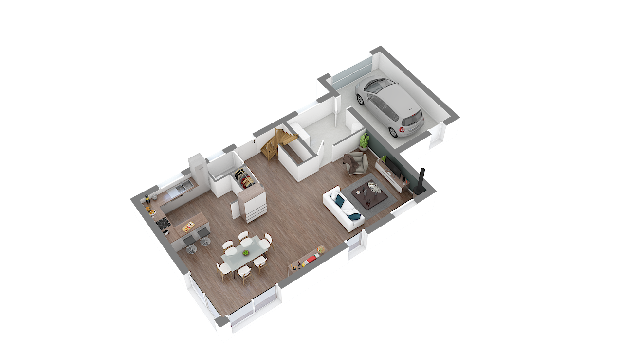 maison ossature bois logicobois modele brisbane - rdc - vue iso