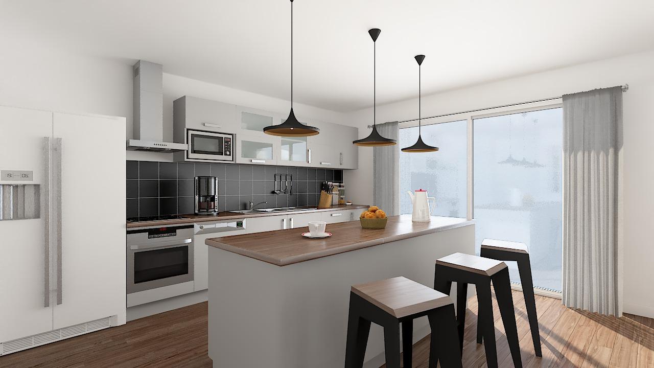 maison ossature bois logicobois modele cancun - cuisine