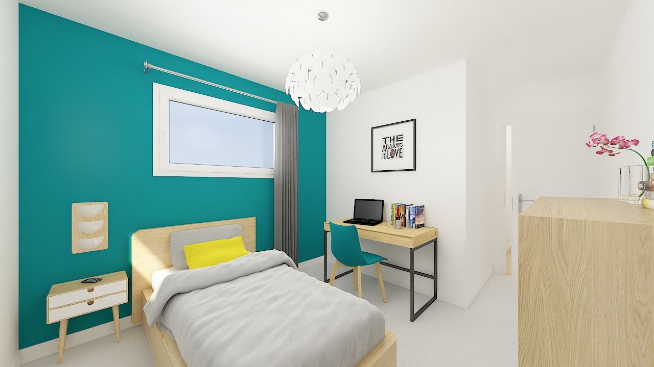 maison ossature bois logicobois modele lisbonne - chambre2