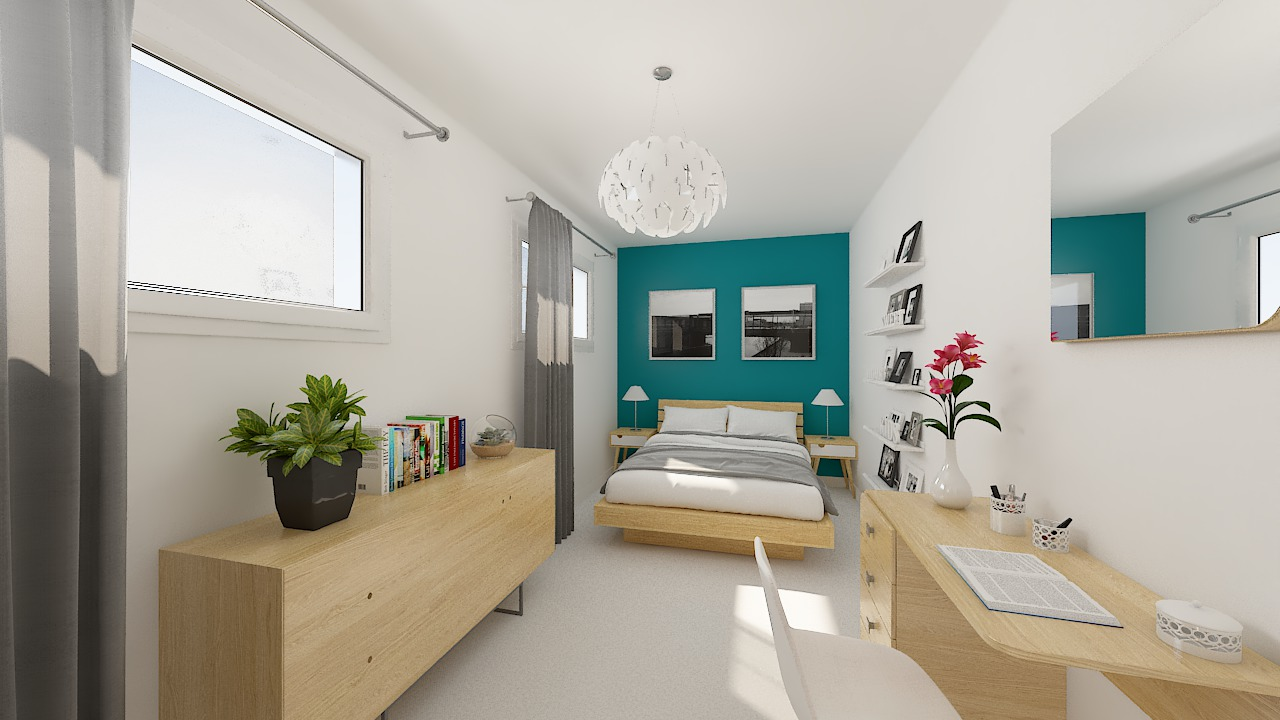 maison ossature bois logicobois modele lisbonne - chambre3