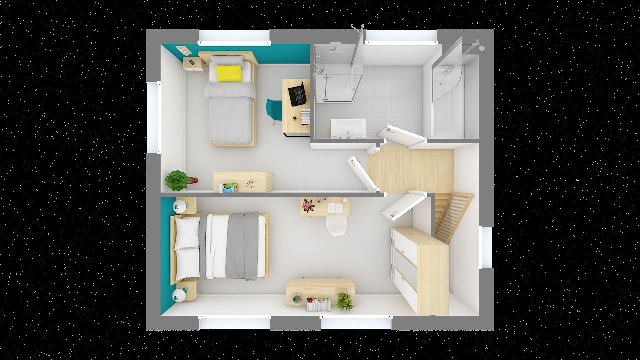 maison ossature bois logicobois modele lisbonne -etage - vue dessus