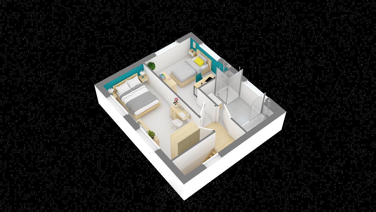 maison ossature bois logicobois modele lisbonne - etage - vue iso
