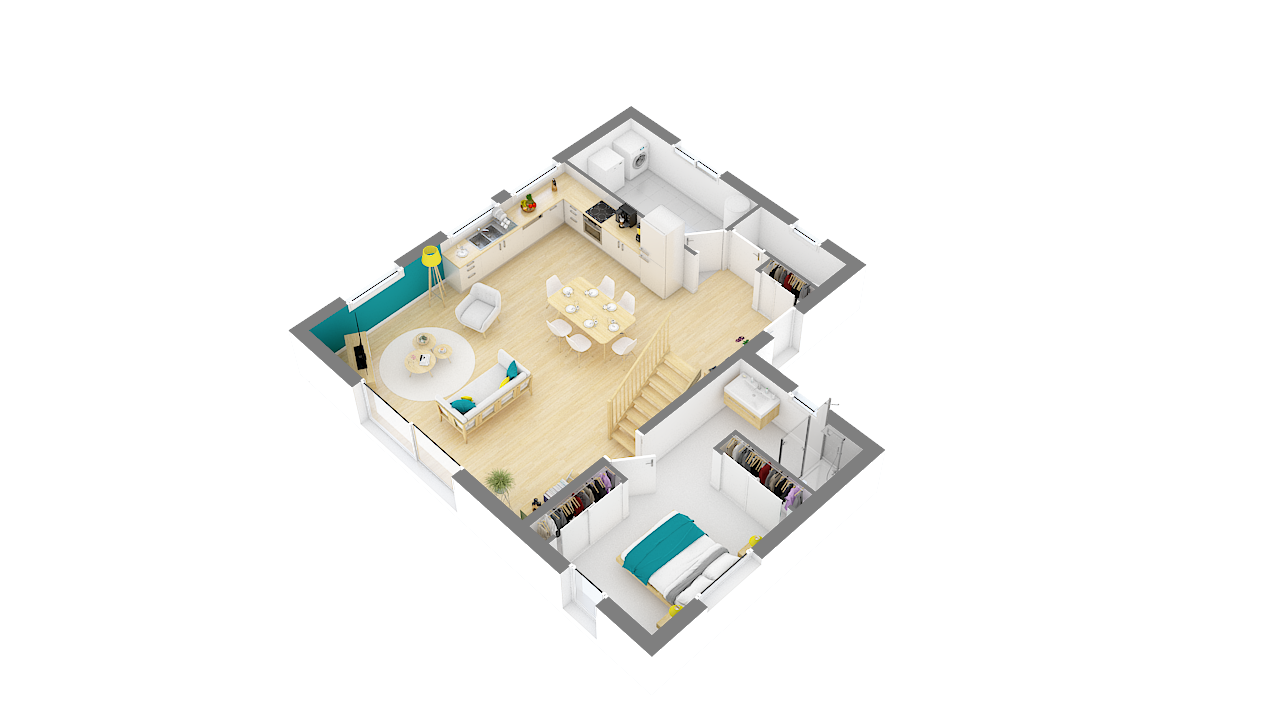maison ossature bois logicobois modele lisbonne - rdc - vue iso