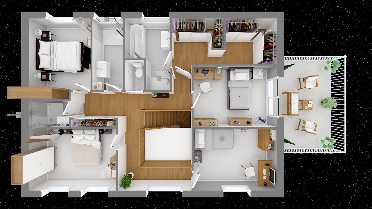 maison ossature bois logicobois modele londres - etage - vue dessus
