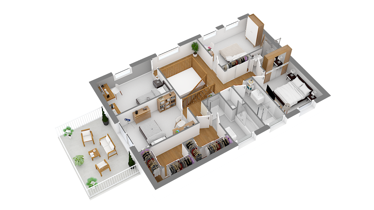 maison ossature bois logicobois modele londres - etage - vue iso