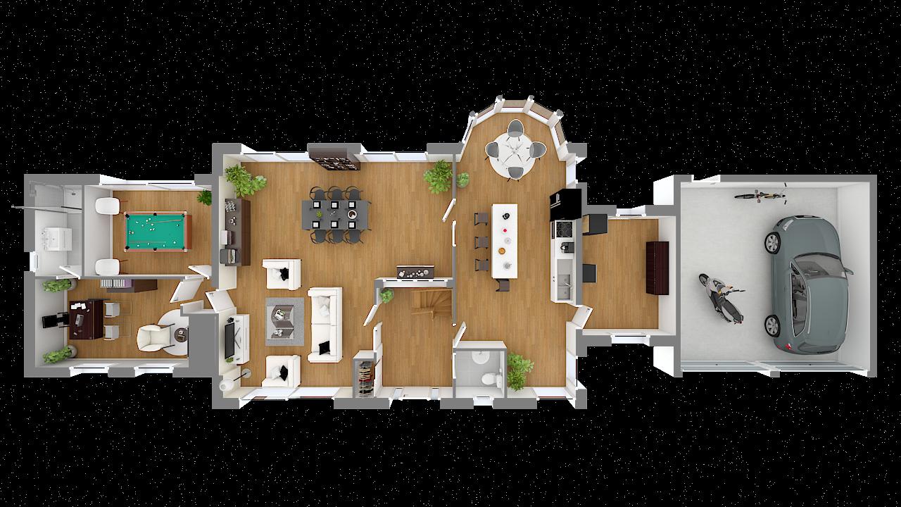 maison ossature bois logicobois modele londres - rdc - vue dessus