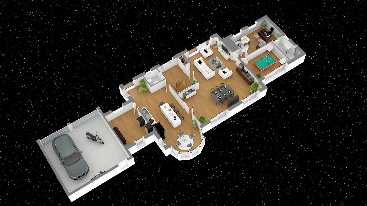 maison ossature bois logicobois modele londres - rdc - vue iso