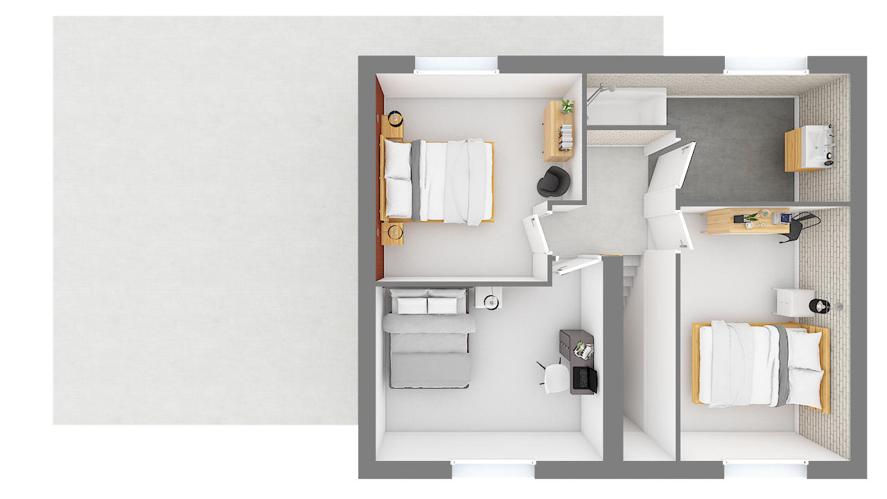 maison ossature bois logicobois modele malaga - etage - vue dessus
