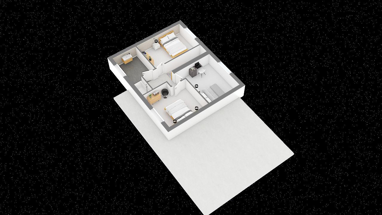 maison ossature bois logicobois modele malaga - etage - vue iso
